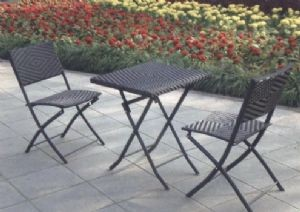 SET RATTAN PLEGABLE GRIS