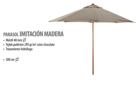 PARASOL imitación madera lona chocolate 300 cm