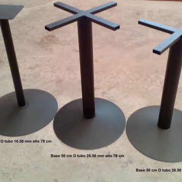 PIE MESA base redonda 50 cm tubo fino – Stock 10 unid