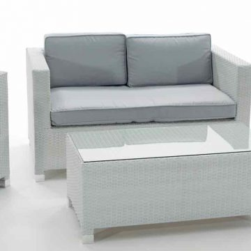 SET ARTIC aluminio rattan blanco