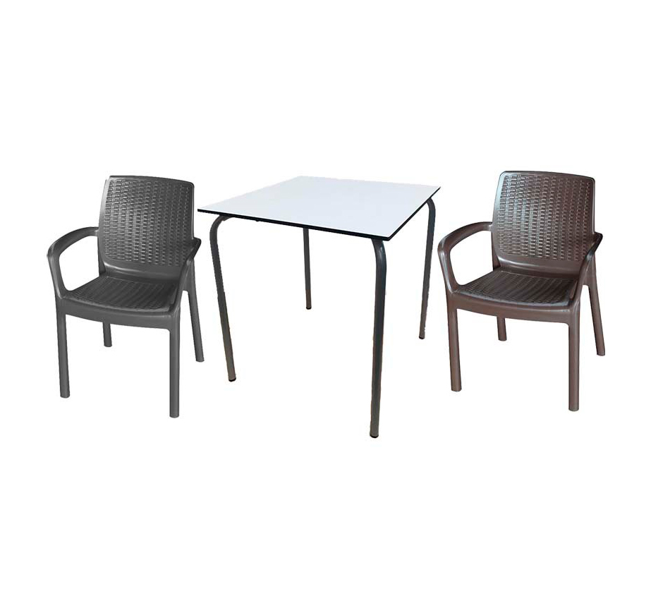 Pack Terraza Mesa y 4 Sillones resina 2 colores