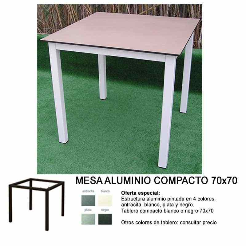 MESA ALUMINIO COMPACTO 70×70